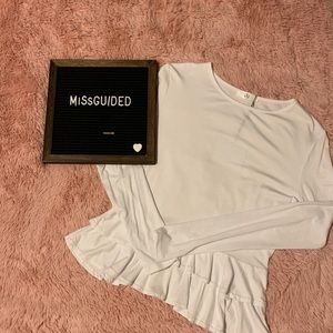 MISSGUIDED White Long Sleeve Peplum NWT